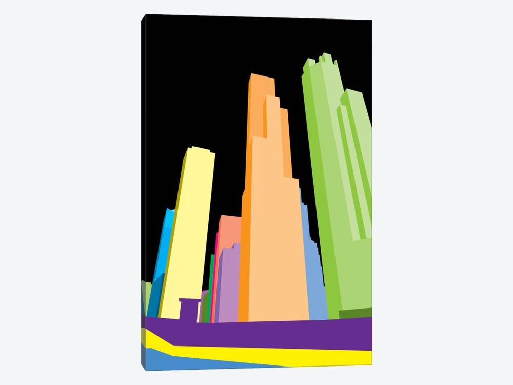 Neon Blocks Chicago by Unknown Artist 1-piece Canvas Artwork