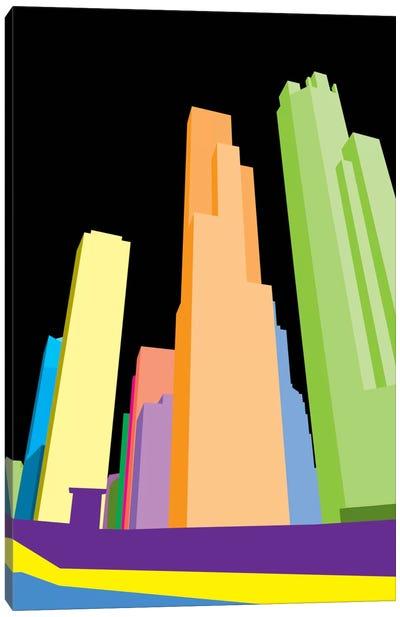 Neon Blocks Chicago Canvas Art Print
