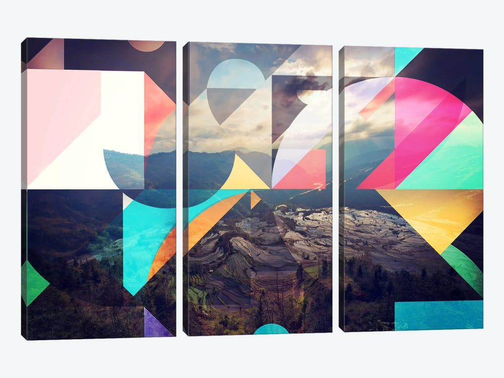 Shapes of the Terraced Mountain by 5by5collective 3-piece Canvas Artwork