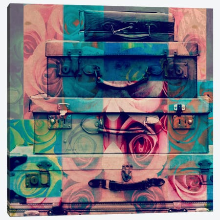 Vintage Floral Luggage Canvas Print #ICA596} by 5by5collective Canvas Print