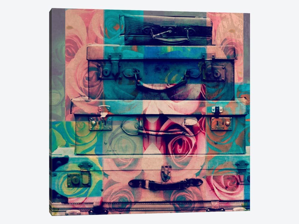 Vintage Floral Luggage by 5by5collective 1-piece Canvas Art Print