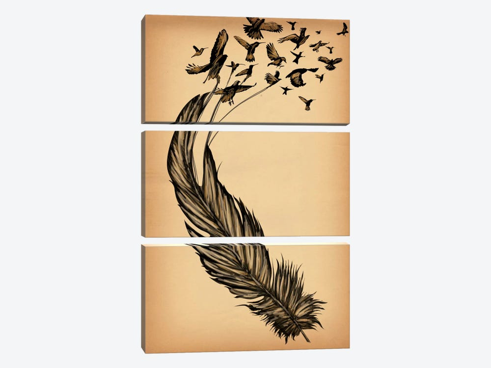 All From a Feather by iCanvas 3-piece Canvas Artwork