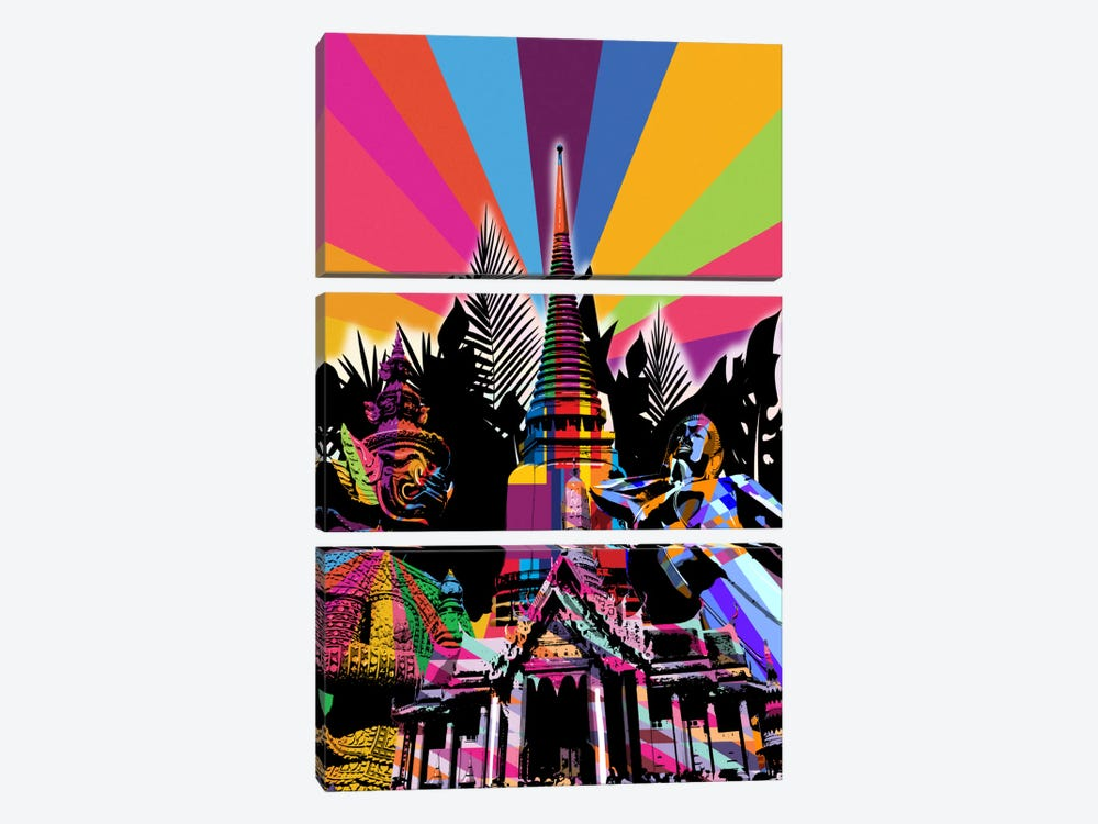 Bangkok Psychedelic Pop by 5by5collective 3-piece Canvas Wall Art