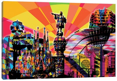 Barcelona Psychedelic Pop Canvas Art Print