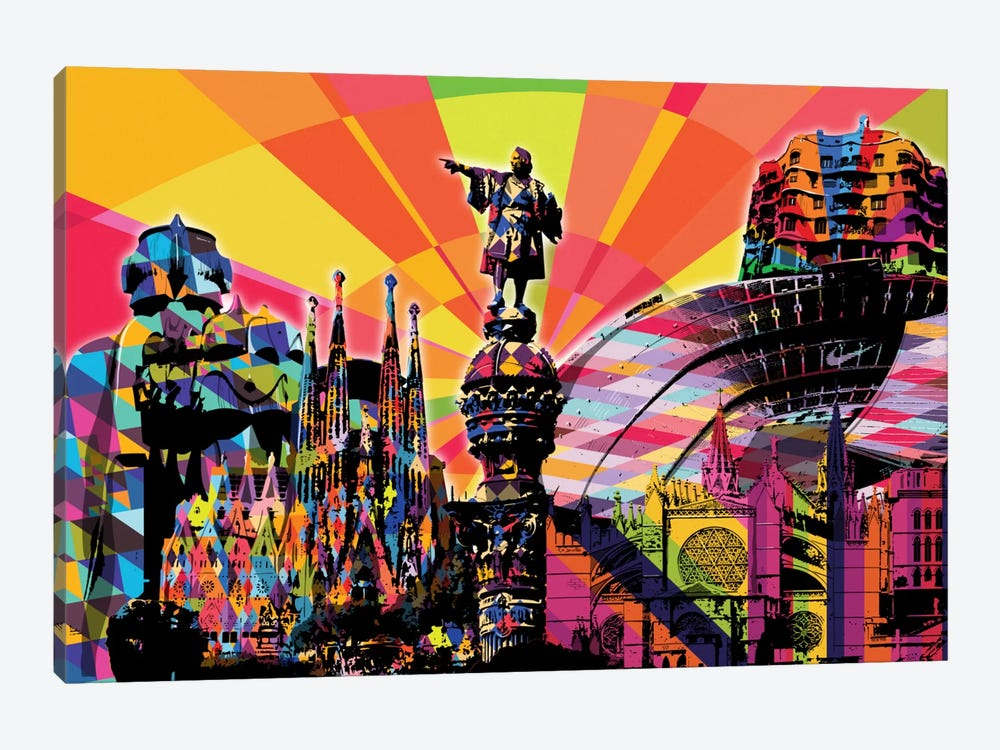 Barcelona Psychedelic Pop by 5by5collective 1-piece Art Print