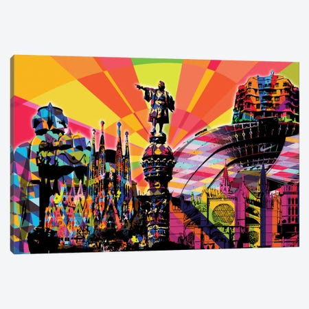 Barcelona Psychedelic Pop 3-Piece Canvas #ICA645} by 5by5collective Canvas Art Print