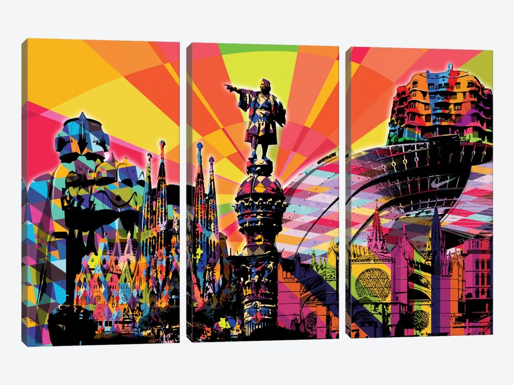 Barcelona Psychedelic Pop by 5by5collective 3-piece Art Print