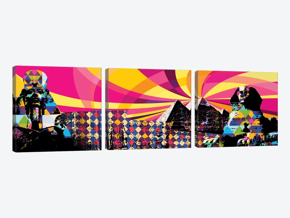 Cairo Psychedelic Pop by 5by5collective 3-piece Canvas Wall Art