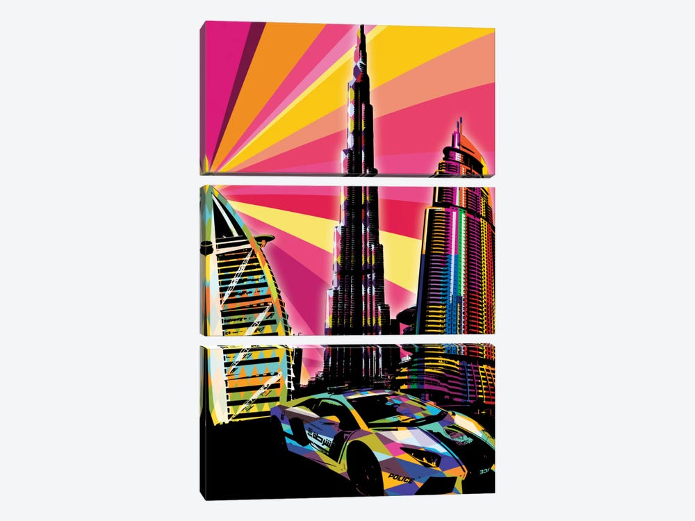 Dubai Psychedelic Pop by 5by5collective 3-piece Canvas Print