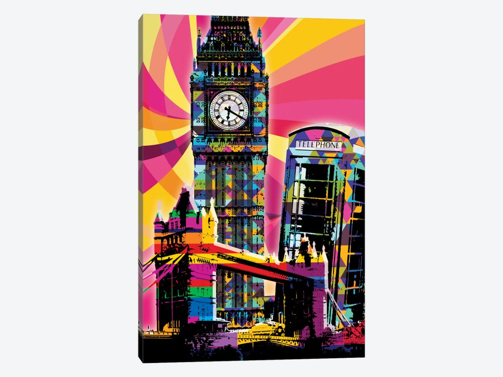 London Psychedelic Pop by 5by5collective 1-piece Canvas Artwork