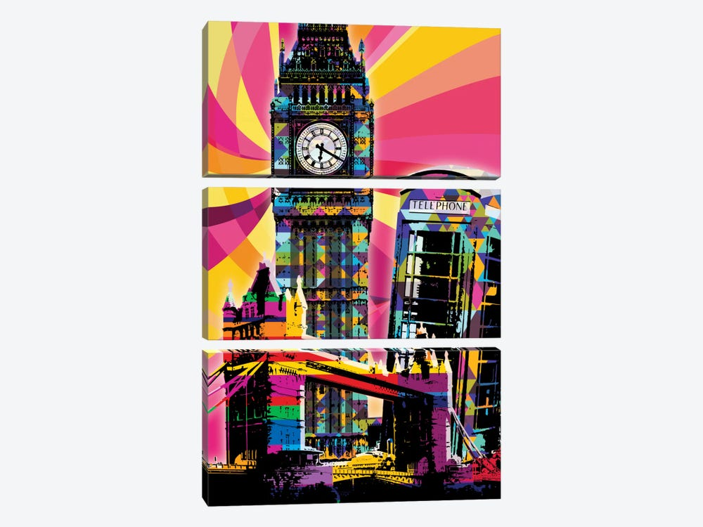 London Psychedelic Pop by 5by5collective 3-piece Canvas Art