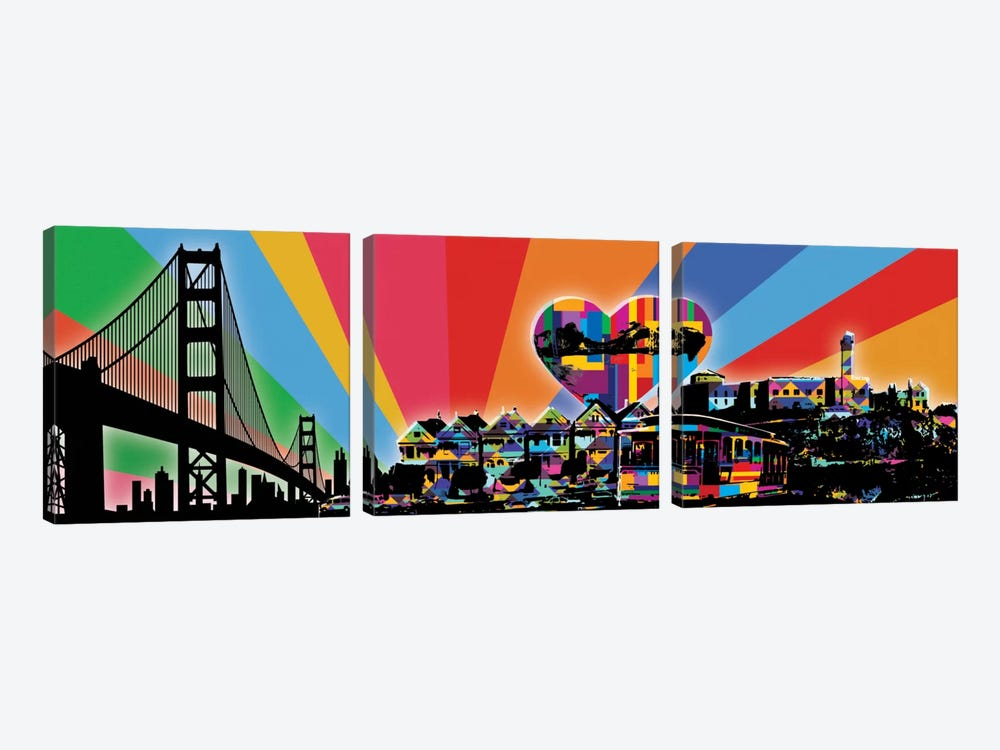 San Francisco Psychedelic Pop by 5by5collective 3-piece Canvas Print
