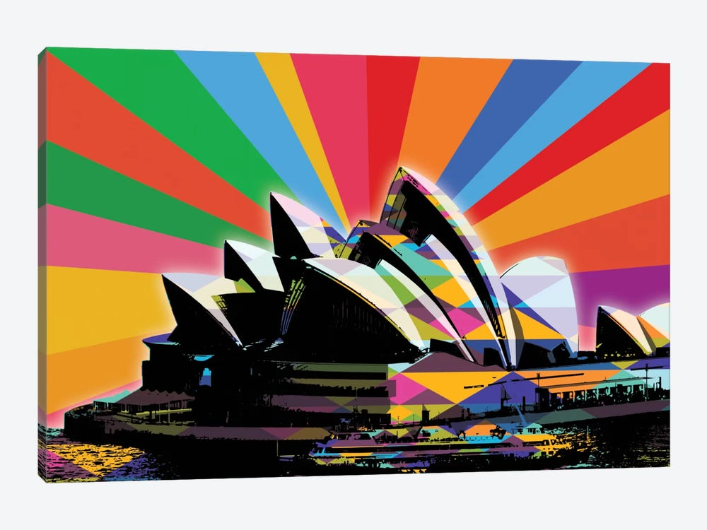 Sydney Psychedelic Pop by 5by5collective 1-piece Canvas Art Print