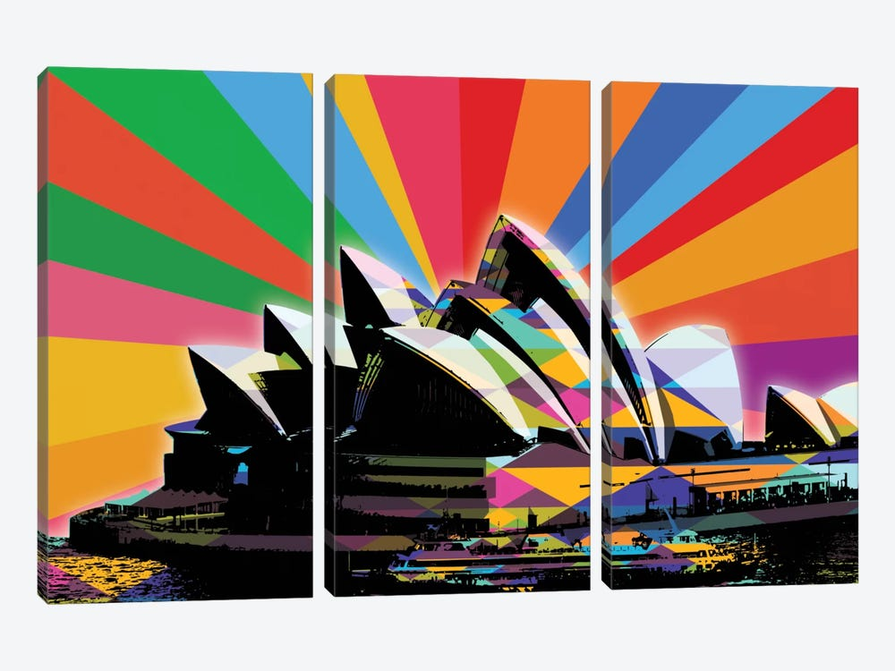 Sydney Psychedelic Pop by 5by5collective 3-piece Canvas Print