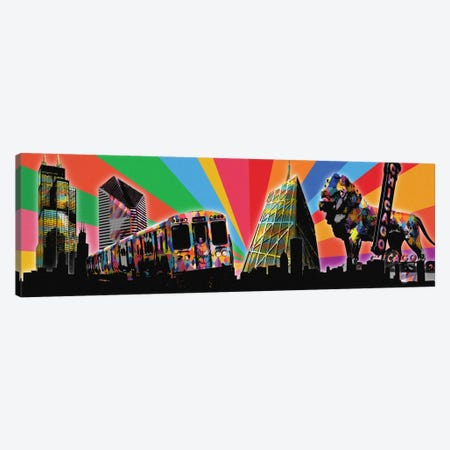 Chicago Psychedelic Pop Canvas Print #ICA651} by 5by5collective Canvas Print
