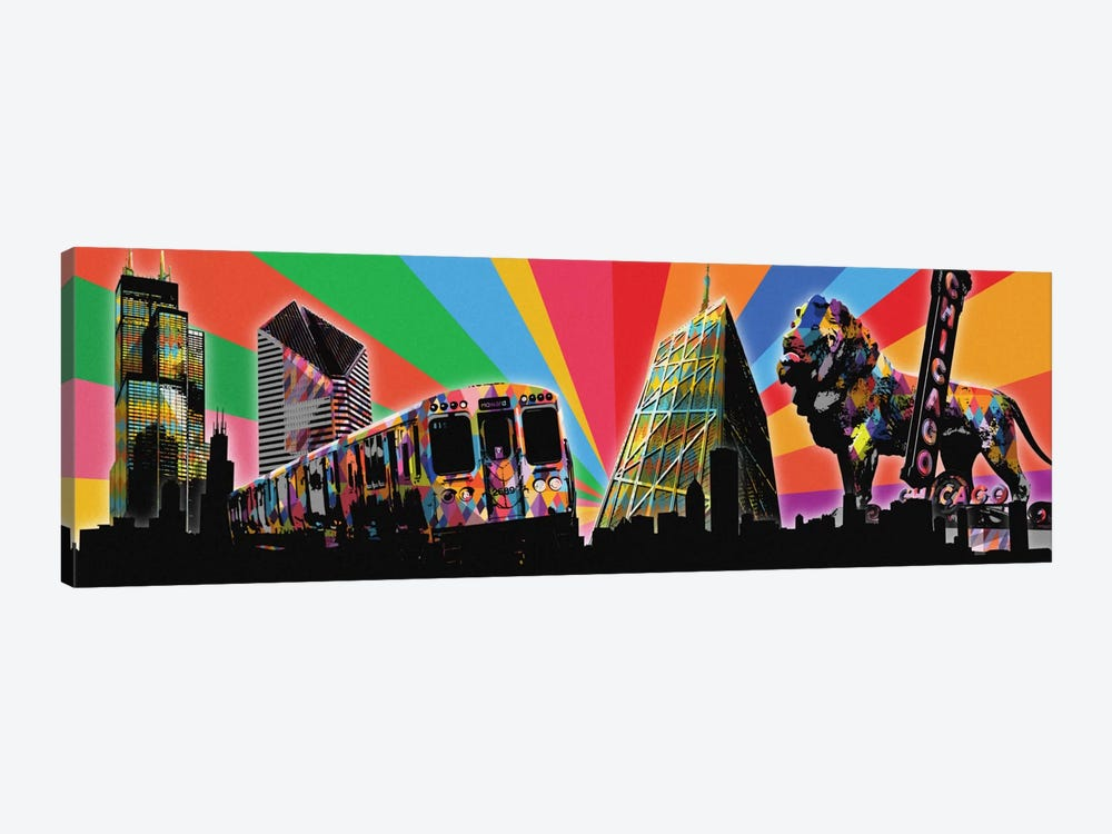 Chicago Psychedelic Pop by 5by5collective 1-piece Canvas Art