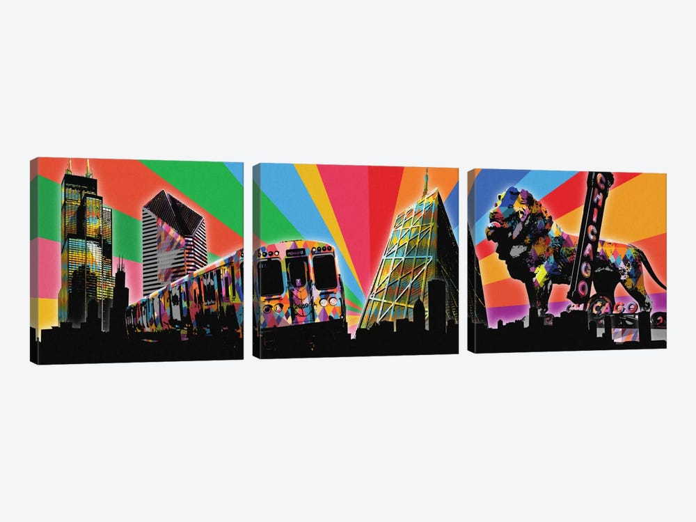 Chicago Psychedelic Pop by 5by5collective 3-piece Canvas Artwork