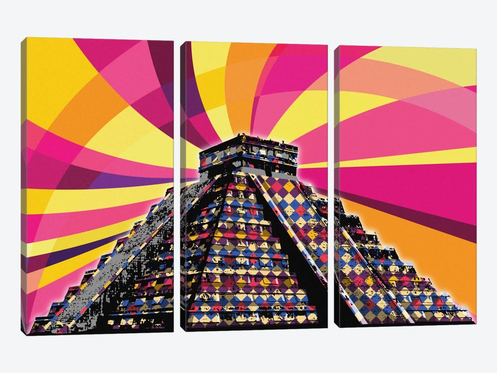 Chichenitza Psychedelic Pop by 5by5collective 3-piece Art Print