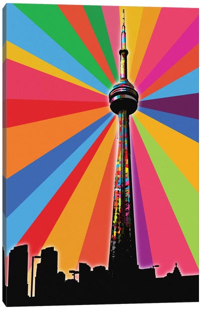 CN Tower Psychedelic Pop Canvas Art Print