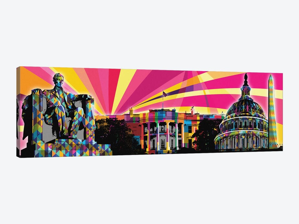 DC Psychedelic Pop by 5by5collective 1-piece Canvas Art Print