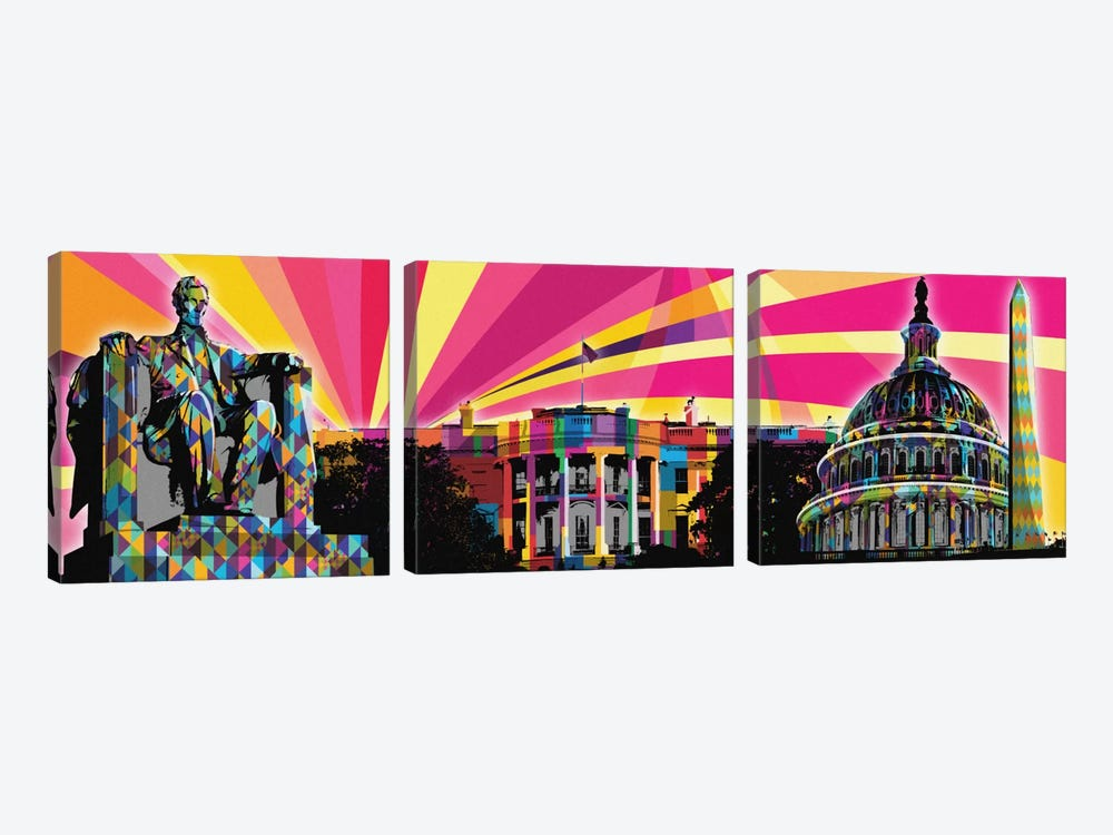 DC Psychedelic Pop by 5by5collective 3-piece Canvas Art Print