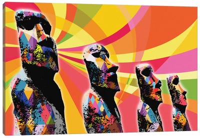 Easter Island Moai Heads Psychedelic Pop Canvas Art Print