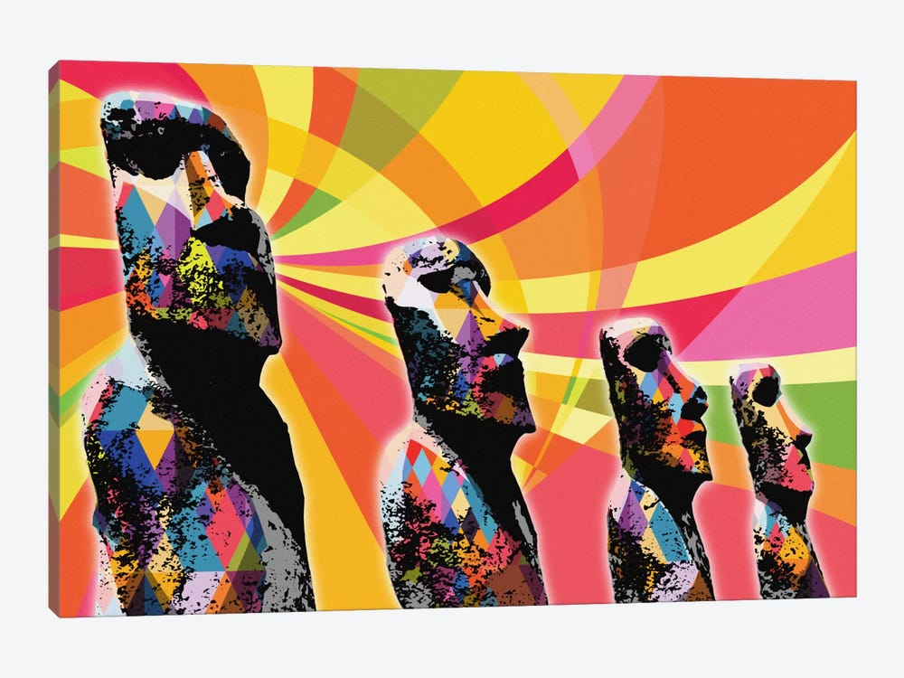 Easter Island Moai Heads Psychedelic Pop by 5by5collective 1-piece Canvas Artwork