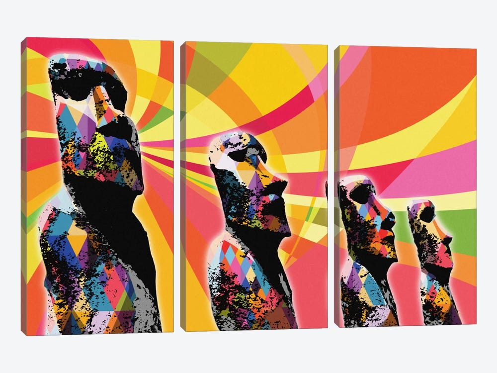 Easter Island Moai Heads Psychedelic Pop by 5by5collective 3-piece Canvas Artwork