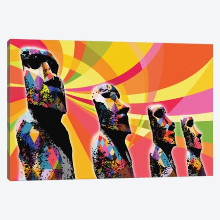 Easter Island Moai Heads Psychedelic Pop Canvas Print #ICA655} by 5by5collective Canvas Art