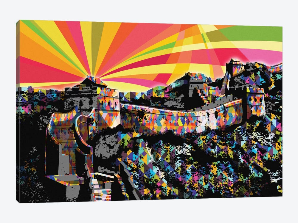 Great Wall of China Psychedelic Pop by 5by5collective 1-piece Canvas Art Print