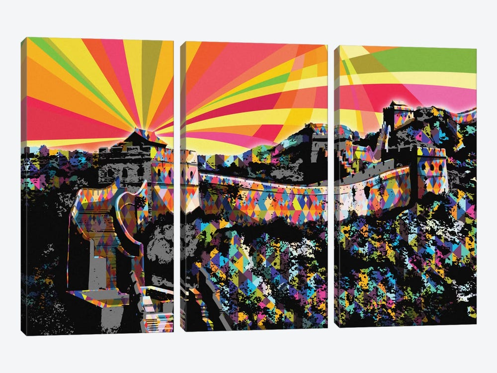 Great Wall of China Psychedelic Pop by 5by5collective 3-piece Canvas Print