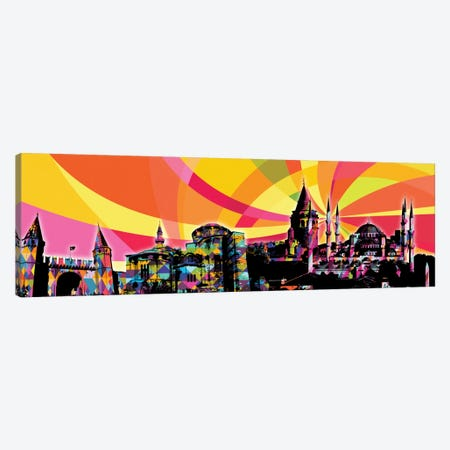 Istanbul Psychedelic Pop Panoramic Canvas Print #ICA657} by 5by5collective Canvas Art