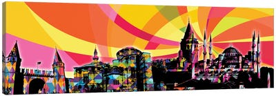 Istanbul Psychedelic Pop Panoramic Canvas Art Print