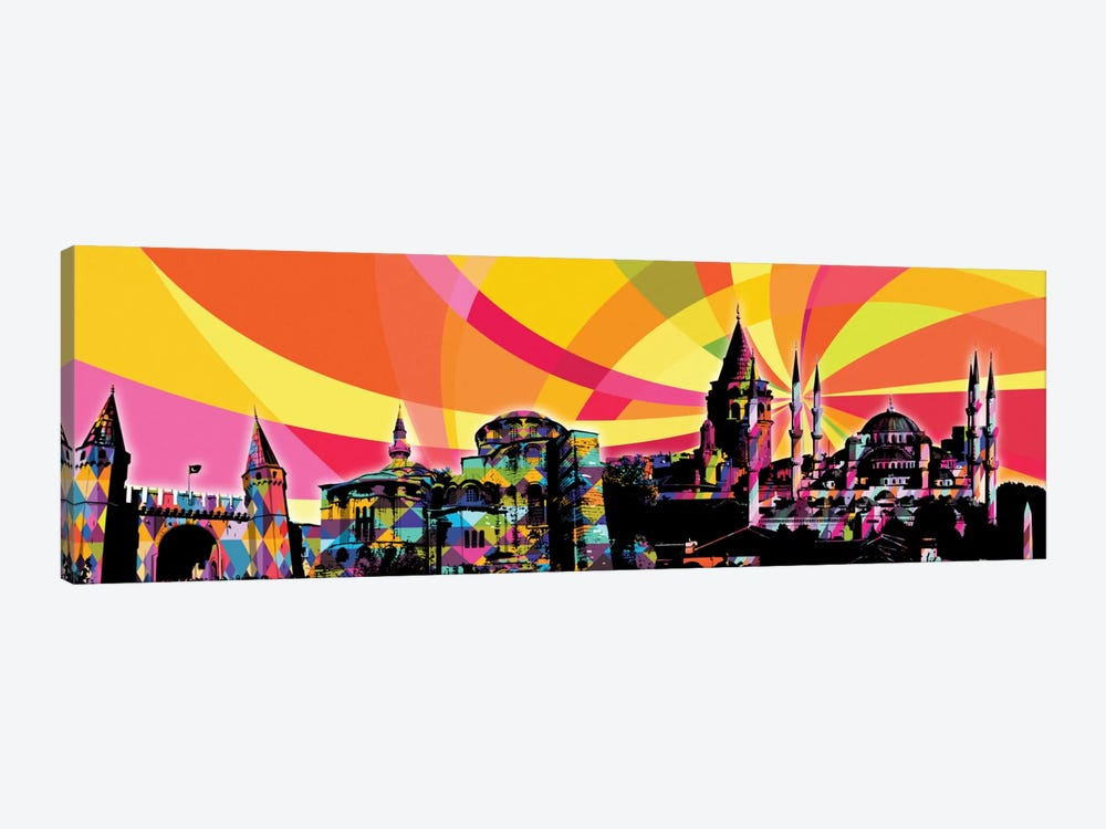 Istanbul Psychedelic Pop Panoramic by 5by5collective 1-piece Canvas Wall Art