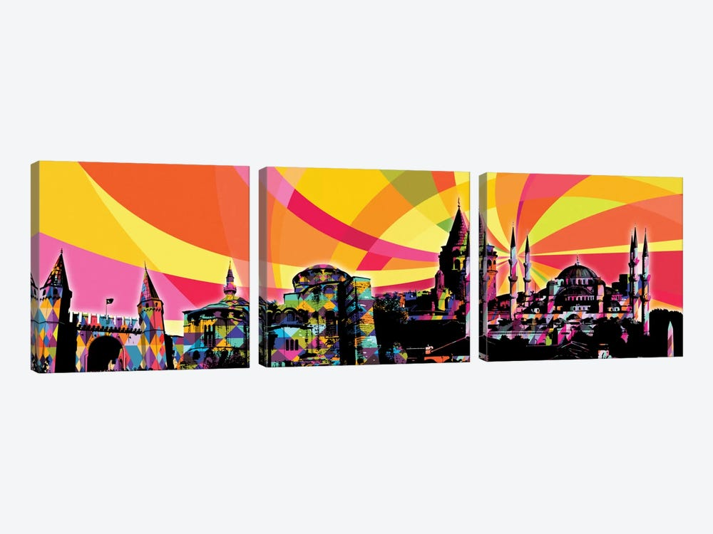 Istanbul Psychedelic Pop Panoramic by 5by5collective 3-piece Canvas Art