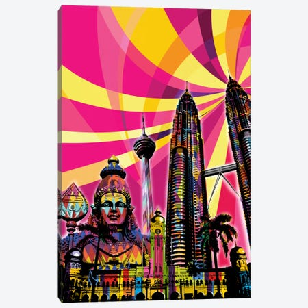Kuala Lumpur Psychedelic Pop Canvas Print #ICA658} by 5by5collective Canvas Art Print