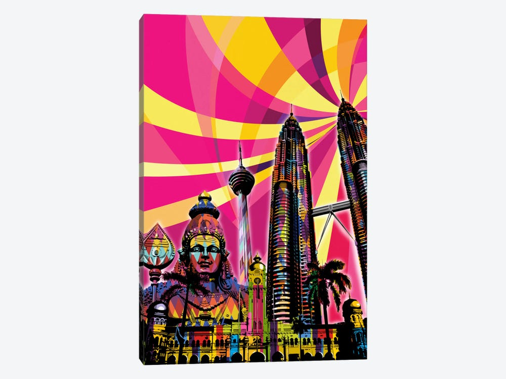 Kuala Lumpur Psychedelic Pop by 5by5collective 1-piece Canvas Print