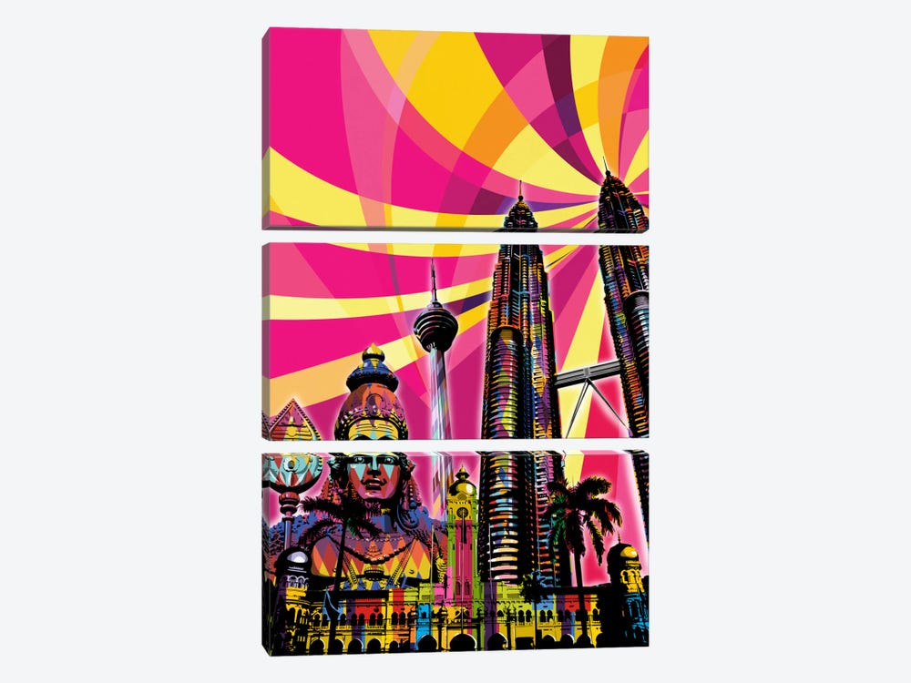 Kuala Lumpur Psychedelic Pop by 5by5collective 3-piece Canvas Art Print