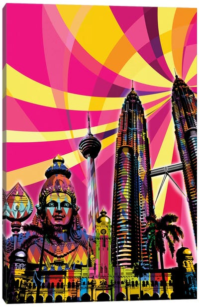 Kuala Lumpur Psychedelic Pop Canvas Art Print
