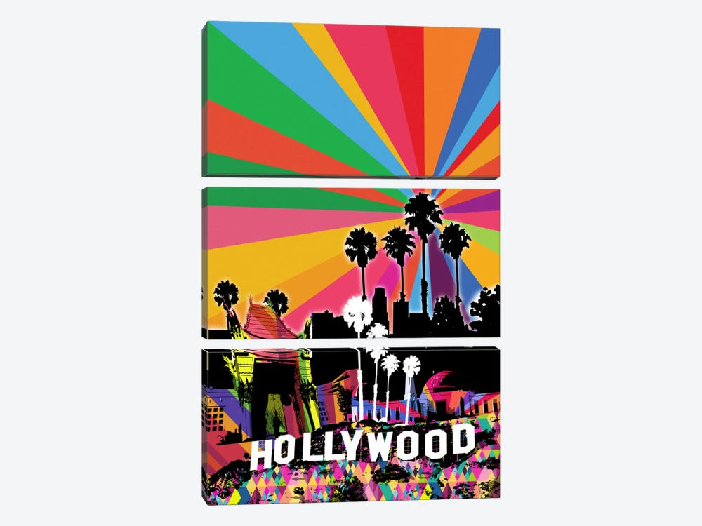 Los Angeles Psychedelic Pop 2 by 5by5collective 3-piece Canvas Art