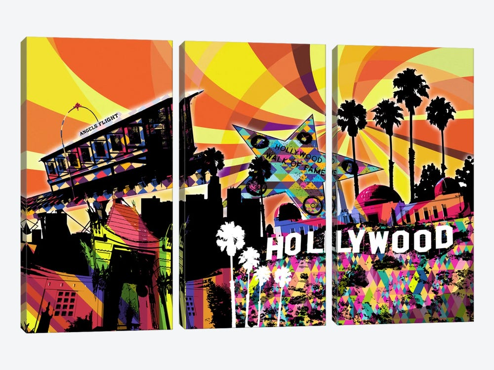 Los Angeles Psychedelic Pop 3 by 5by5collective 3-piece Canvas Print