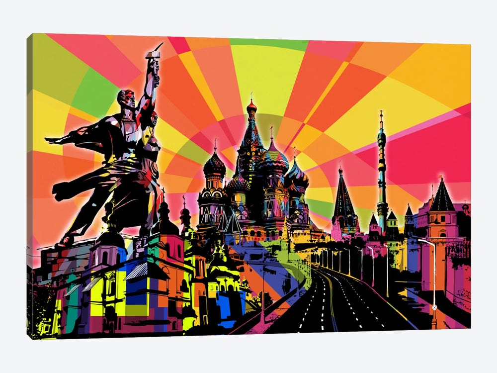 Moscow Psychedelic Pop by 5by5collective 1-piece Canvas Wall Art