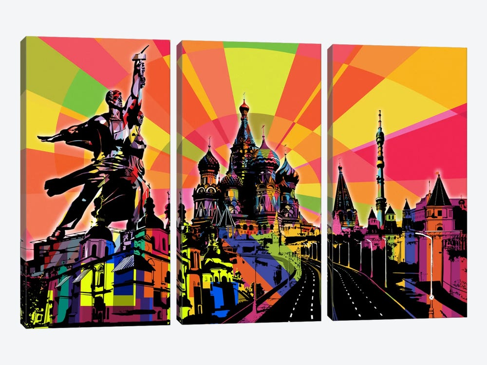 Moscow Psychedelic Pop by 5by5collective 3-piece Canvas Artwork