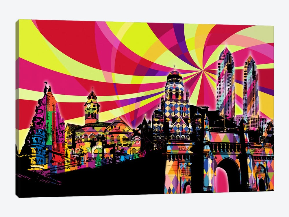 Mumbai Psychedelic Pop by 5by5collective 1-piece Canvas Art Print