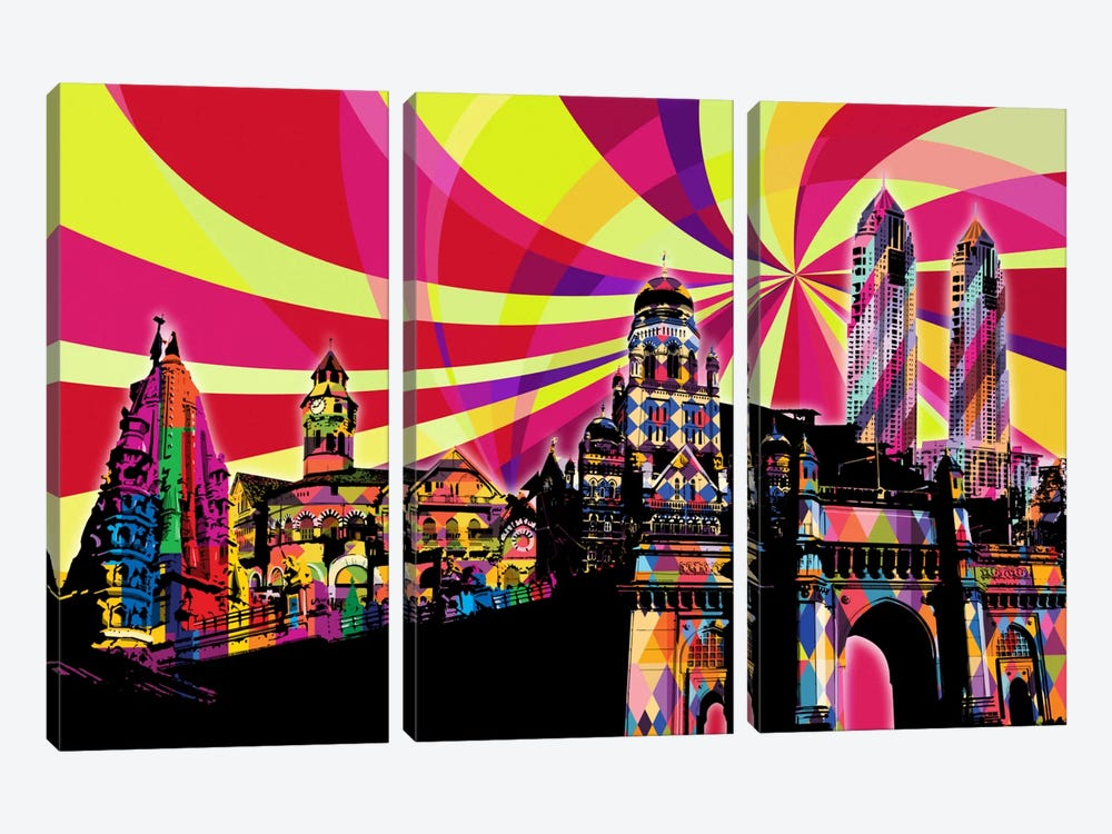 Mumbai Psychedelic Pop by 5by5collective 3-piece Art Print