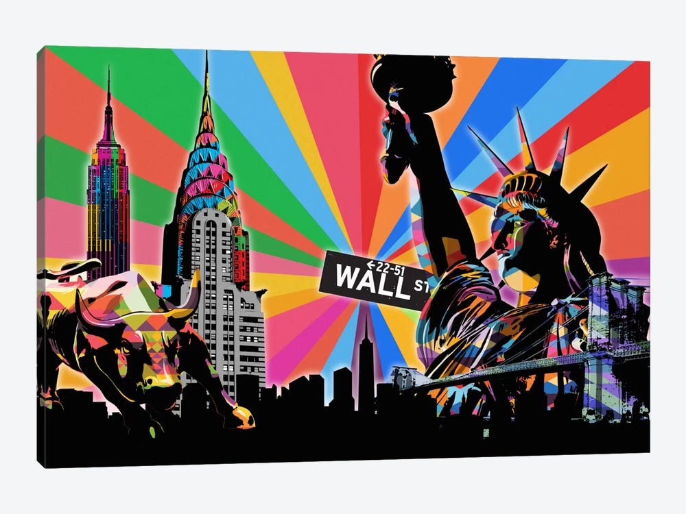 New York City Psychedelic Pop by 5by5collective 1-piece Canvas Artwork