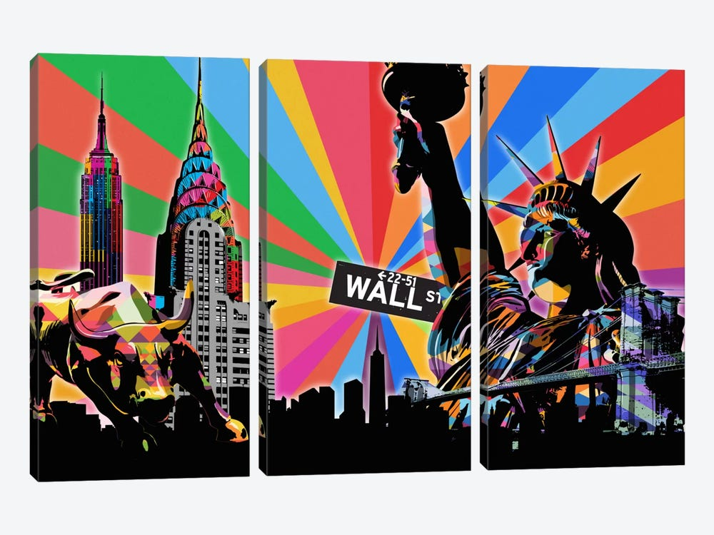 New York City Psychedelic Pop by 5by5collective 3-piece Canvas Art