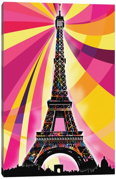 Paris Psychedelic Pop Canvas Art Print