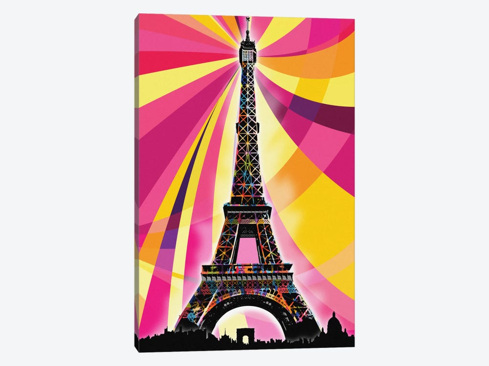 Paris Psychedelic Pop by 5by5collective 1-piece Canvas Art Print