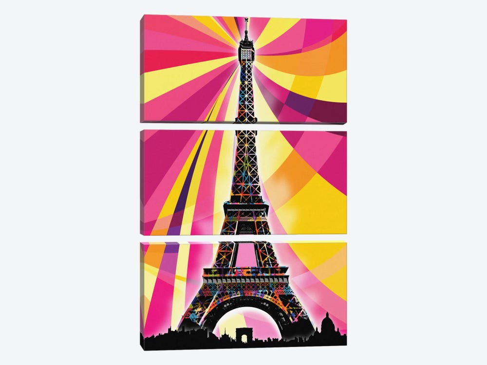 Paris Psychedelic Pop by 5by5collective 3-piece Art Print